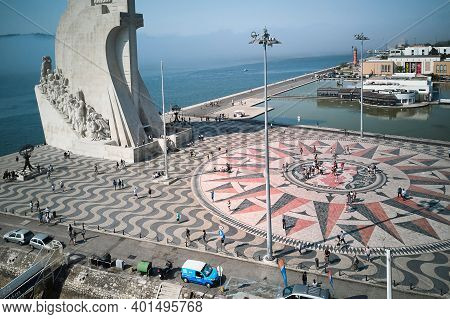 Portugal, Lisbon, August 22, 2018: Monument To The Discoverers On The Tagus River Embankment. The Em
