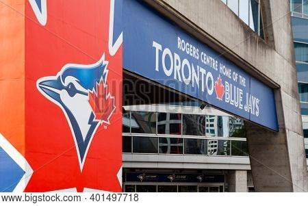 Toronto, Canada - October 27:  The Crest Of Toronto Blue Jays Adorns The Rogers Centre On October 27