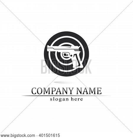 Gun Logo And Army Soldier Sniper Shot Vector Design Illustration Military Shot Revolver