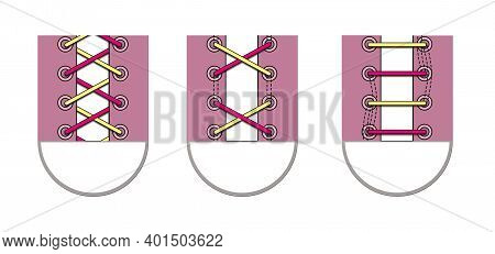 Three Ways To Lace Shoelaces. Illustration Isolated On A White Background.