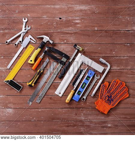 Top View Tools Building And Repair Set On A Wooden Background