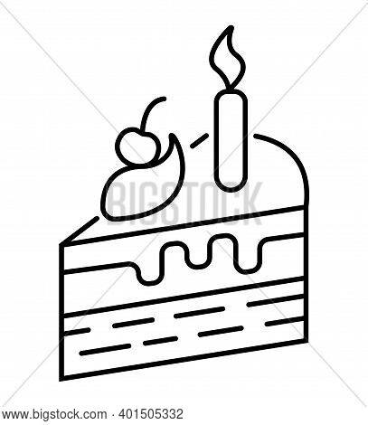 Piece Of Cake Icon In Outline Style. Souffle, Nem, Cheesecake With Candles. The Celebration Of The B