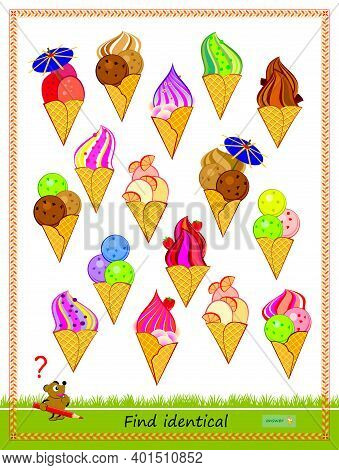 Logic Puzzle Game For Children And Adults. Find Two Identical Ice Creams. Printable Page For Kids Br