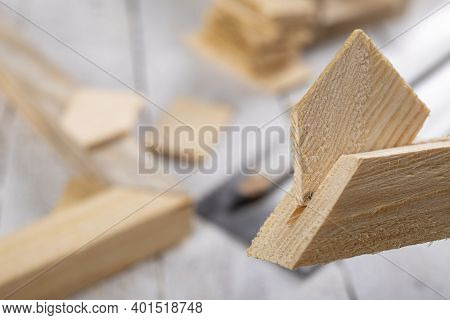 Angular Connection Of Two Pieces Of Wood. Making A Wooden Frame For A Painting. Workplace Carpentry