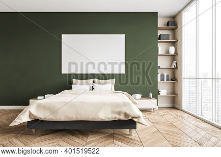Mockup Canvas In Green And Beige Bedroom, Bed With Pillows And Linens, Coffee Tables. Green Wall And