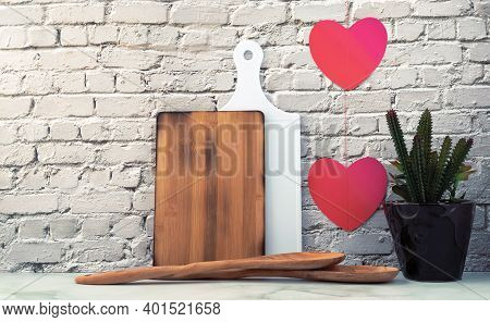 Valentines Day Background And Kitchen Interior, Love Concept For Mother's Day And Valentine's Day Wi