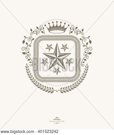 Vintage Heraldry Design Template, Vector Emblem.arms, Blazon