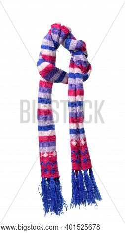Multicolored Knitted Scarf Isolated On White Background, Thing Hanging