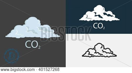 Cloud Illustration. Co2 Icon , Carbon Dioxide Formula Isolated Vector Icon. Pollution, Ecology Desig