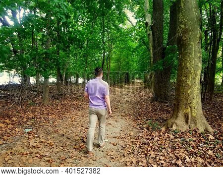 A Young Guy Walking On The Hiking Trail At Bellevue State Park, Wilmington, Delaware, U.s.a