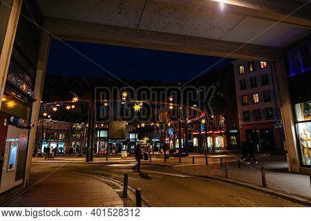 Strasbourg, France - Jan 1, 2020: View Of Place De Lhomme De Fer In Central Strasbourg With Decorati