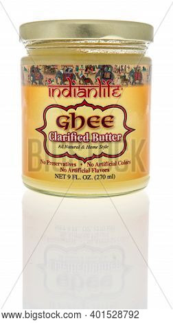 Winneconne, Wi -30 December 2020: A Package Of Indian Life Ghee Clarified Butter On An Isolated Back