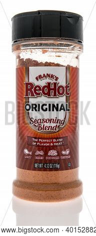 Winneconne, Wi -30 December 2020: A Package Of Franks Redhot Seasoning Blend On An Isolated Backgrou