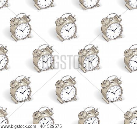 Alarm Clocks Seamless Background, Timer, Deadline Hurry And Wake Up Concept, Vector Wallpaper Or Web