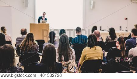 Audience In Lecture Hall On Scientific Conference.