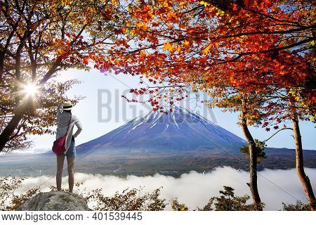 Mountain Fuji In Autumn With Red Maple Leaves, Japan