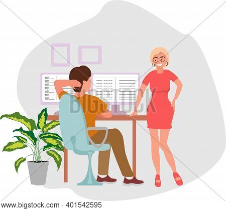 Young Girl Flirting With A Man In The Office And Distracting Him From The Computer. Beautiful Woman