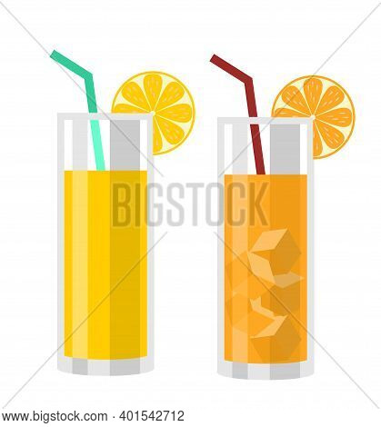 Natural Fresh Orange Juice In A Glass. Drink With Orange. Orange Slice, Tube For Drinking. Citrus Fr