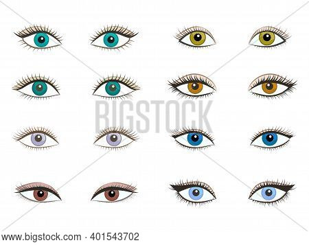 Vector Set Of Different Women Different Beautiful Eyes. Isolated Object On White Background. Color I