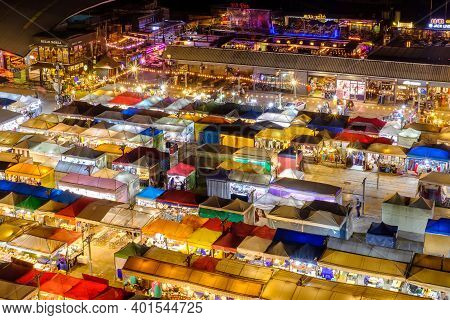 Bangkok, Thailand - October 12, 2020: Night View Of The Train Night Market Ratchada. Train Night Mar