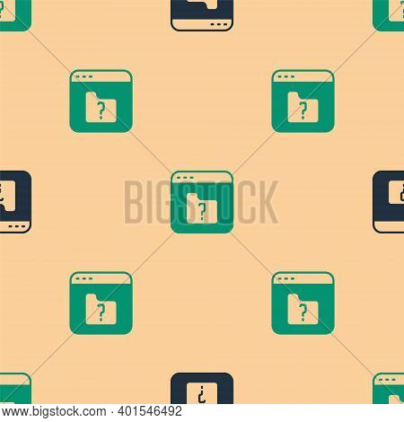 Green And Black File Missing Icon Isolated Seamless Pattern On Beige Background. Vector