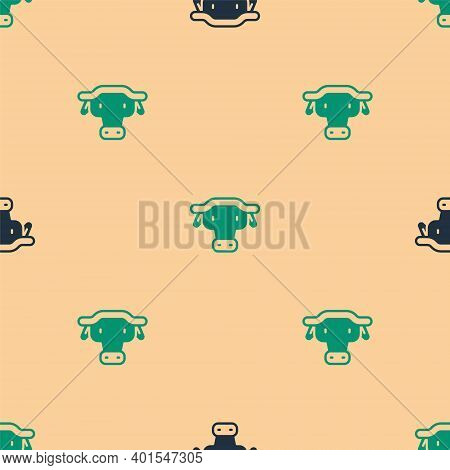 Green And Black African Buffalo Head Icon Isolated Seamless Pattern On Beige Background. Mascot, Afr