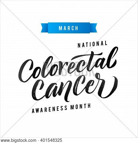 Colorectal Health Awareness Month Vector Illustration. Ribbon Around Letters. Vector Stroke Blue Rib