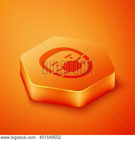 Isometric Doctor Pathologist Icon Isolated On Orange Background. Orange Hexagon Button. Vector