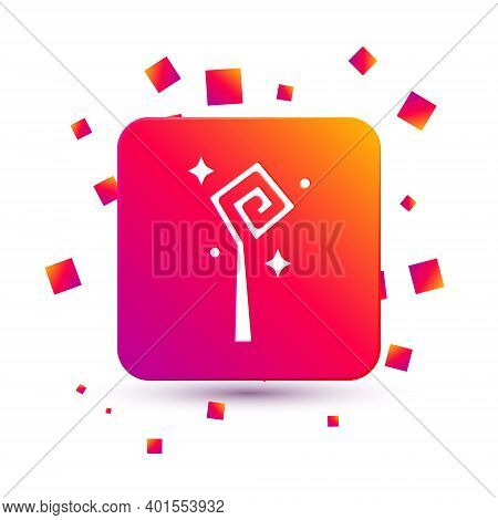 White Magic Staff Icon Isolated On White Background. Magic Wand, Scepter, Stick, Rod. Square Color B