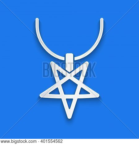 Paper Cut Pentagram On Necklace Icon Isolated On Blue Background. Magic Occult Star Symbol. Paper Ar