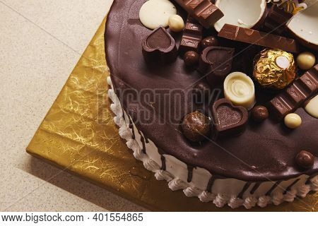 Details Of Beautifully Decorated Birthday Cake, Closeup View