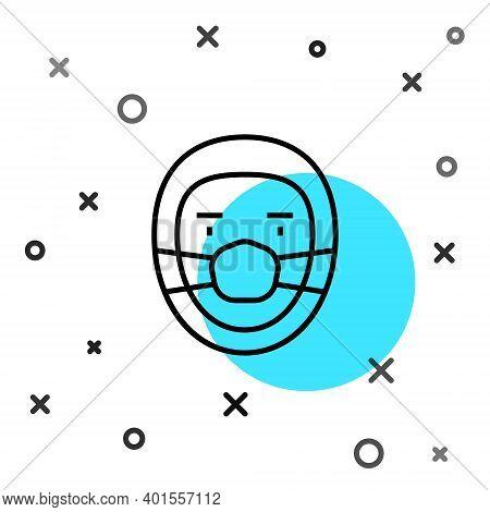 Black Line Doctor Pathologist Icon Isolated On White Background. Random Dynamic Shapes. Vector