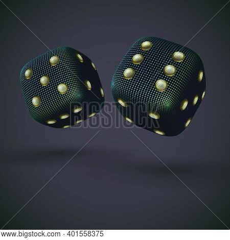 Digital 3d Falling Casino Dices On Gray Background. Online Gambling And Virtual Casino Games. Concep