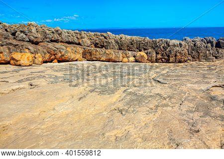Rocky Coast Landforms . Ocean Shore With Stone Cliffs
