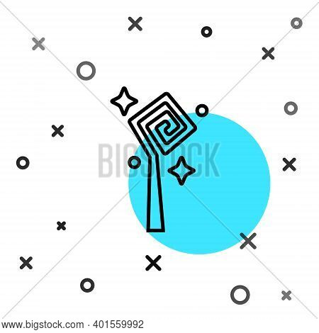 Black Line Magic Staff Icon Isolated On White Background. Magic Wand, Scepter, Stick, Rod. Random Dy