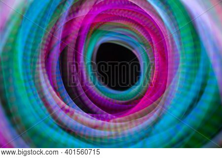 Abstract Multicolored Circle Light, Slow Motion Long Exposure Photography
