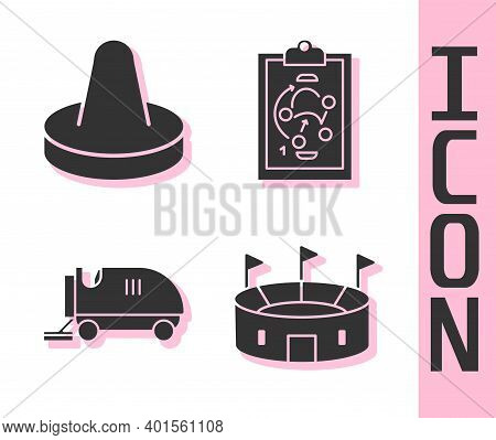 Set Hockey Stadium, Mallet For Playing Air Hockey, Ice Resurfacer And Planning Strategy Icon. Vector