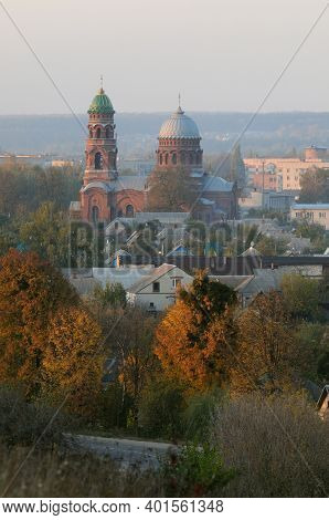 Trostianets (trostyanets) Cityscape. Ascension Church Is Central To The Composition. Bright Autumn T