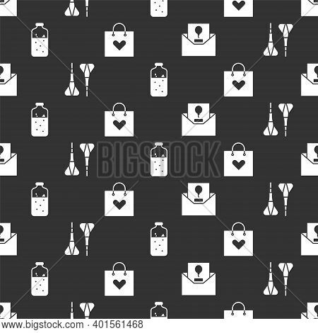 Set Invitation, Dart Arrow, Mulled Wine And Shopping Bag With Heart On Seamless Pattern. Vector