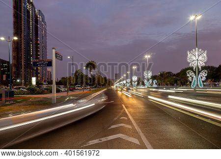 Abu Dhabi, United Arab Emirates - July 26, 2020: Eid Decoration On Corniche In Abu Dhabi, Street Vie