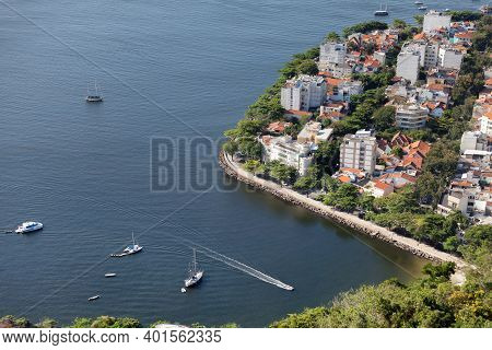 Top view on the lagoon from Sugar Loaf in Rio de Janeiro, Brazil