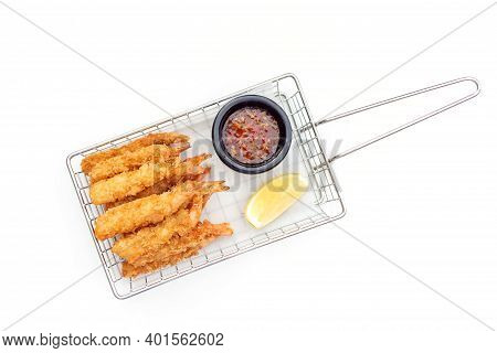 Breaded Shrimps With Chili Sauce And Slice Of Lemon Isolated On White Background, Finger Food, Top V