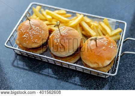 Mini Burgers With French Fries Served At The Bar, Finger Food