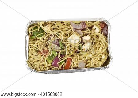 Top View Of Veg Noodles Take Away Meal In A Foil Tray Isolated On A White Background With Clipping P
