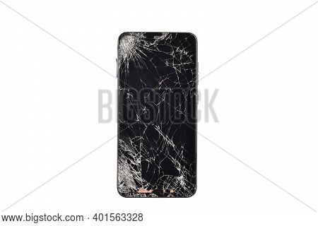 Cracked Screen Smartphone Isolated On White Background With Clipping Path