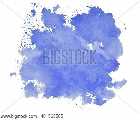 Blue Ink Stain Isolated On White Background, Top View Of Blue Water Color