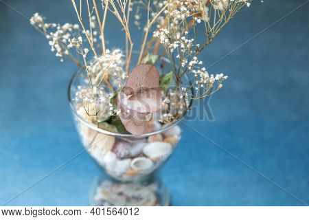 Dry Plants And Seashells In A Glass Vase With Blue Background