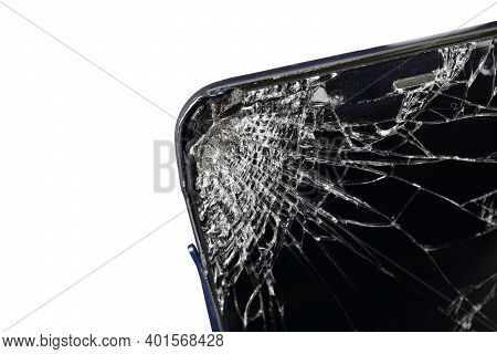 Close Up Of Broken Screen Of Smartphone Isolated On White Background With Clipping Path