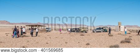 Garub, Namibia - June 24, 2012: Panorama Of The Viewpoint For The Wild Horses Of The Namib At Garub.