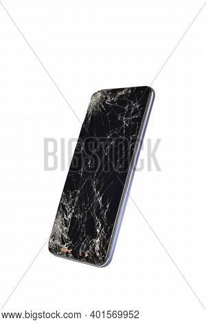 Cracked Screen Phone Isolated On White Background With Cutout
